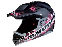 Мотошлем кроссовый MARUSHIN RS-MX ET Carbon Race, черно-розовый, p.S