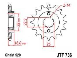 Звезда передняя JTF 736.14