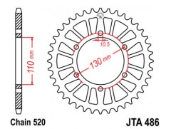 Звезда задняя легкосплавная JTA 486.47